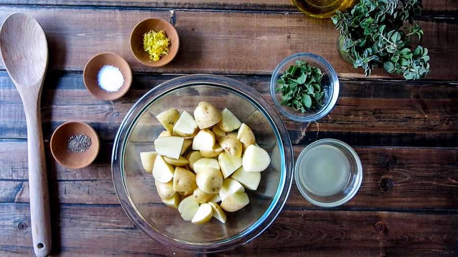 ingredients for greek lemon potatoes