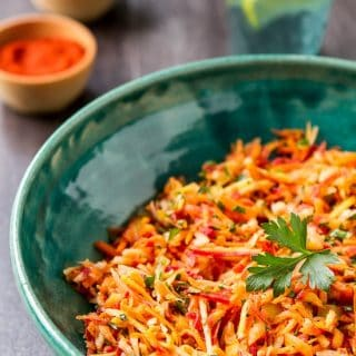 Moroccan Carrot Salad with Honey Lemon Dressing