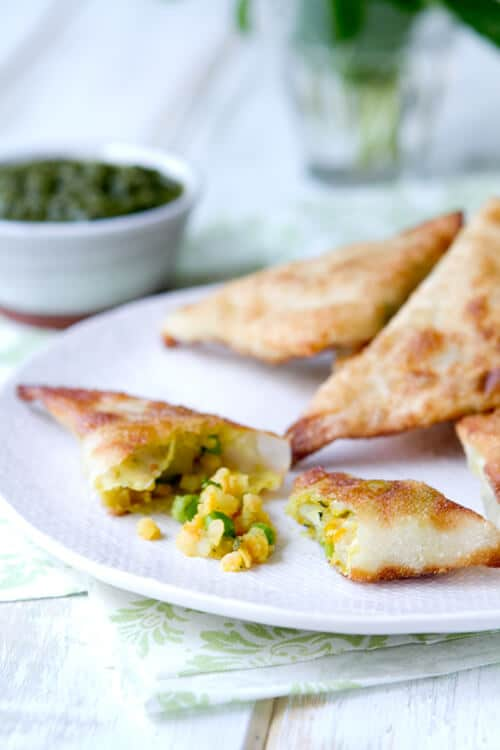 Streamlined Samosas -a shortcut way to make these indian vegetarian appetizers with potatoes, peas and lentils.