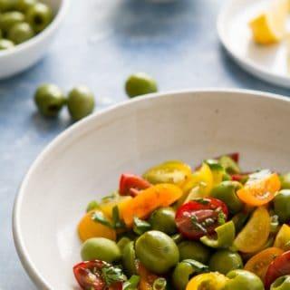 Green Olive Cherry Tomato Salad on Za'atar Chicken